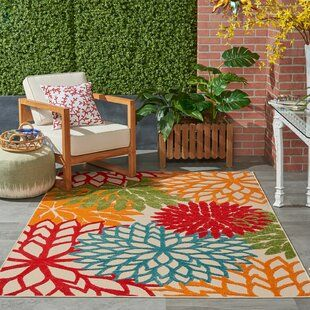 Bungalow Rose Caywood Flatweave Cotton Blue Pink Green Area Rug Indoor Outdoor Area Rugs Area Rugs Floral Area Rugs