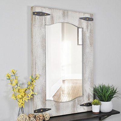 Distressed Ivory And Tan Barn Door Wall Mirror Farmhouse Wall Mirrors Mirror Door Interior Barn Doors