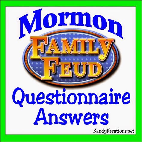 Have a fun ward activity or youth night by playing the Mormon Family Feud. Here are the answers to the Mormon Family Feud Questionnaire so you can put together your own game for a spirited and fun Mormon activity night. Mutual Activities, Young Women Activities, Church Activities, Summer Activities, Family Activities, Indoor Activities, Recreational Activities, Activity Day Girls, Activity Days