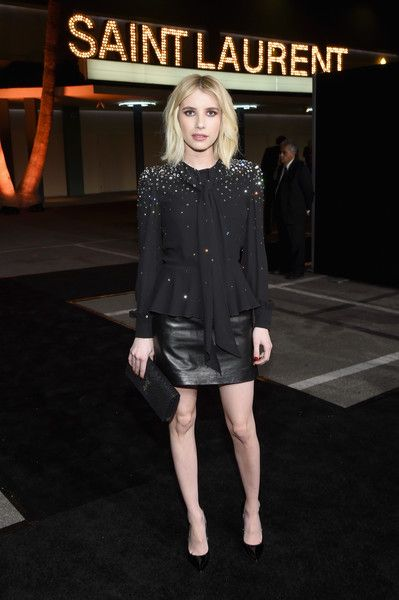 Emma Roberts attends SAINT LAURENT at the Palladium.