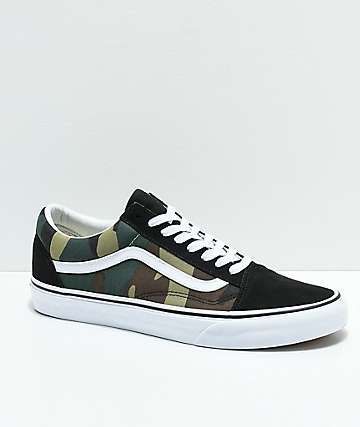Vans Old Skool Woodland Camo & Black Skate Shoes | Vans
