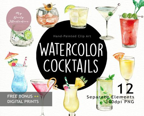 Watercolor Classic Cocktails Drink Clipart In Png Files Etsy Cocktail Drinks Classic Cocktails Clip Art