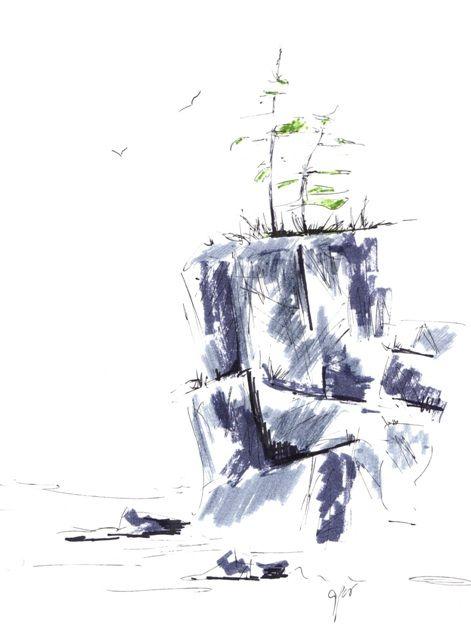 Cliffs, Pen Sketch