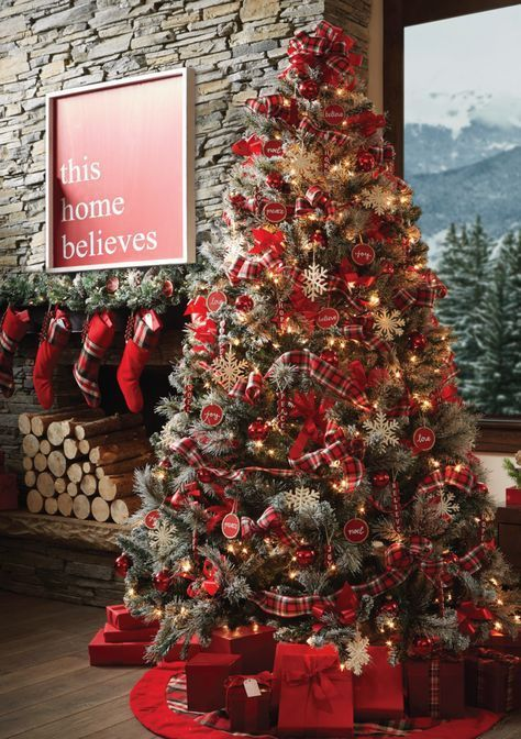 Pre Lit Christmas Tree With Red Country Decor Elegant