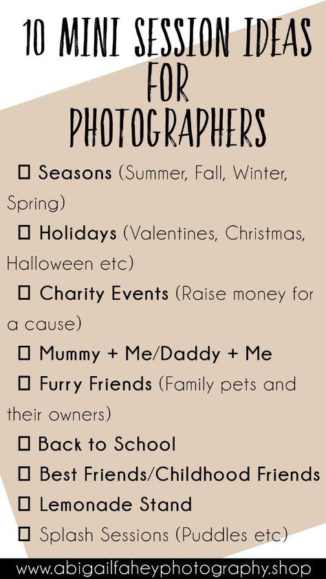10 Mini Session Ideas for Photographers