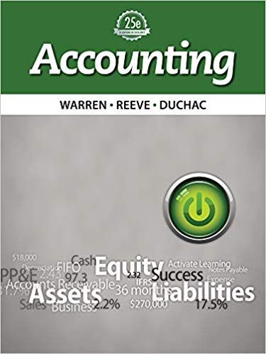 Accounting 25th Edition By Carl Warren Accounting Books Managerial Accounting Accounting