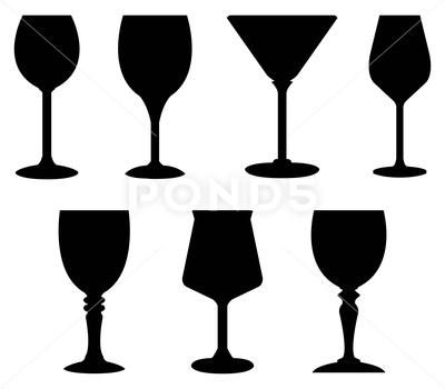 Icons Glass Wine Glasses Brandy Whiskey And Martinis Silhouette