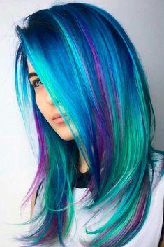 Amazing Blue Hair With Purple Highlights #highlightshair #balayagehair #multicoloredhair