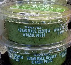 Read Reviews Of Trader Joe S Vegan Kale Cashew Basil Pesto Sold In The Refrigerated Dips Section Of Various Tj S Locatio Trader Joes Vegan Trader Joes Pesto