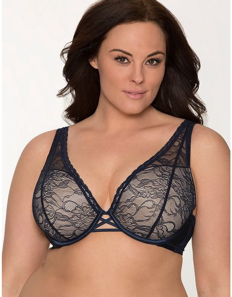 7ed885b7eef62 Plus Size Triangle Lace V Demi Bra by Cacique