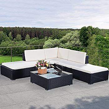 Costway 6pcs Garden Corner Sofa Set Rattan Furniture Pe Wicker