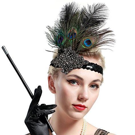 Babeyond 1920s Flapper Peacock Feather Headband 20s Sequi Https