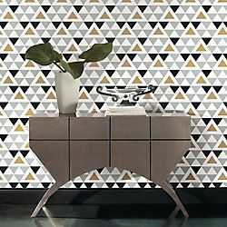 Roommates Geometric Triangle Peel Stick Wallpaper The Home Depot Canada In 2020 Peel And Stick Wallpaper Geometric Triangle Wallpaper Temporary Decorating