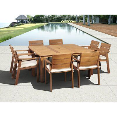 Bay Isle Home Alpena International Home Outdoor 9 Piece Dining Set With Cushions Modern Patio Modern Outdoor Patio Dining Sets Modern