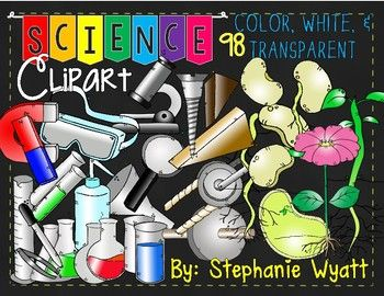 This Packet Of Clipart Are Pictures Related To Science It Includes 98 Png File Clipart Color Black And White And Tra Science Clipart Fun Science Clip Art