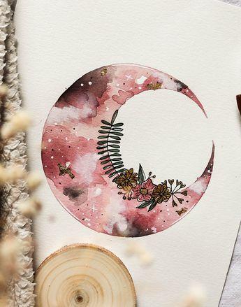2peinture Originale Lune Florale A L Aquarelle Par Wild Amanda