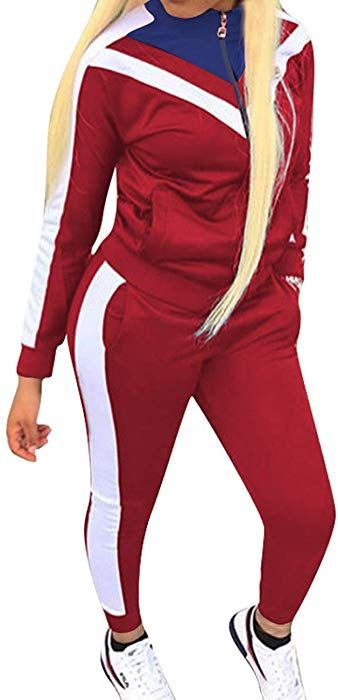 Women Tracksuit Sets 2 Piece Color Block Zipper Sweatshirt Hoodie Long Sleeve and Long Sweatpants Sweatsuit Outfit with Pockets for Fall Winter