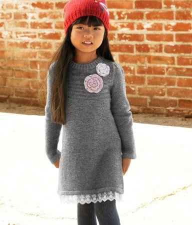 4d8f96da9cee52 H M Gray Melange knit dress with decorative applique and peek-a-boo lace  ruffle hem.  19.95