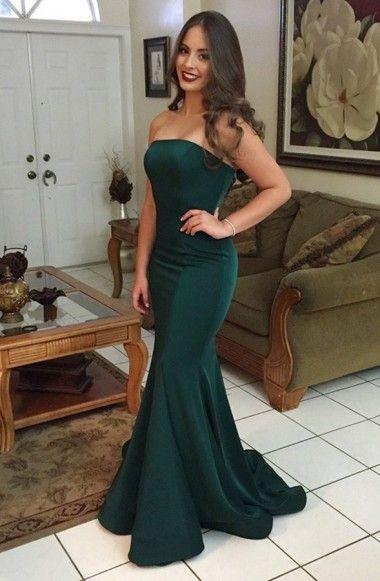 e0fbb2949a3c1 Mermaid Strapless Sweep Train Dark Green Satin Sleeveless Prom Dress ...