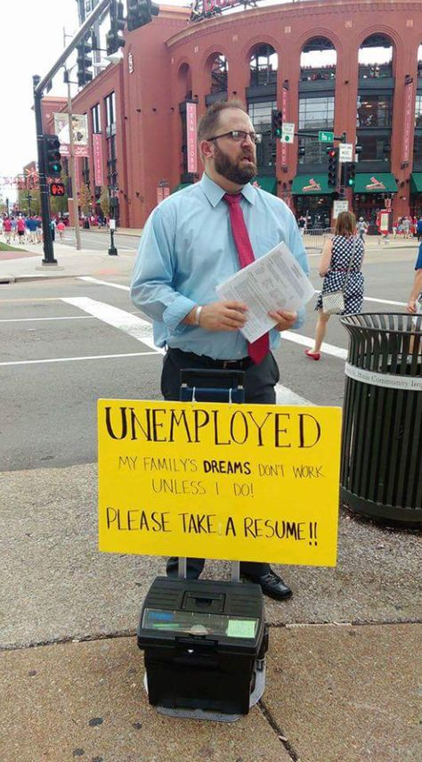 This man lost his job and is struggling to provide for his family. Today he was standing outside of Busch Stadium, but he is not asking for hand outs. He is doing what it really takes.