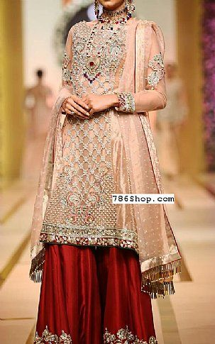 Peach/Red Crinkle Chiffon Suit | Buy Pakistani Designer