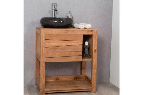 Meuble De Salle De Bain 1 Porte Naturel 67 Cm Teak Bathroom Vanity Single Vanity Units Vanity Units