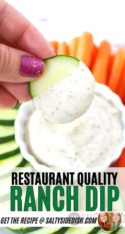 Restaurant Homemade Ranch Dip  - From scratch homemade ranch dip, perfect for vegetable trays, wings, and potato chips. Ranch seasonings right from the pantry and whipped up in 10 minutes or less, a perfect restaurant quality ranch dip that is thick and creamy.