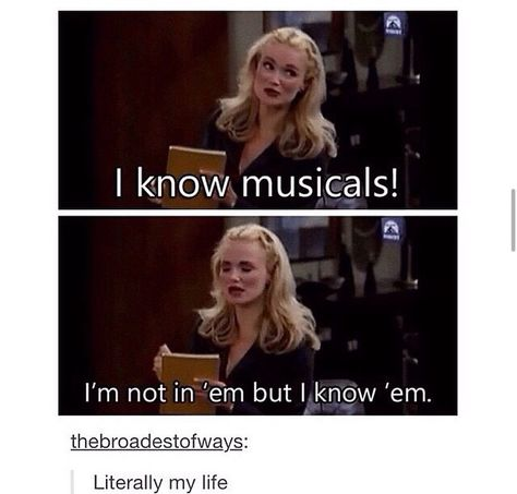 I know musicals too! If you know and love musicals, then you are my BFF! Musical Theatre Broadway, Music Theater, Broadway Shows, Theatre Jokes, Theatre Nerds, Neil Patrick, Pixar, Dear Evan Hansen, The Villain