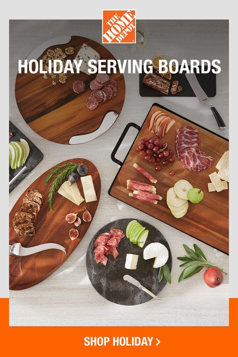 Stylish serving is all in the presentation. Set a foundation of warm woods and cool stone, then layer with thin-sliced meats, rich cheeses and refreshing fruit. Click now to stock up on serving pieces for your next spread online at The Home Depot.