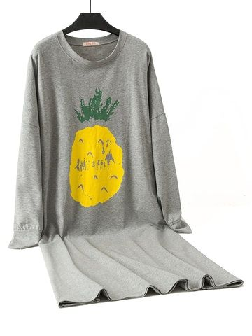 Plus Size Cotton Fruits Print Pajamas In 2020 Pajamas Cotton Pyjamas Print Pajamas
