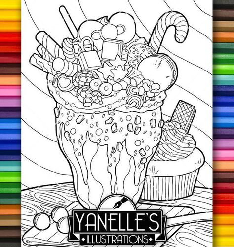 Adult Coloring Page Desserts Milk Shake Fun Food Snack Food Art