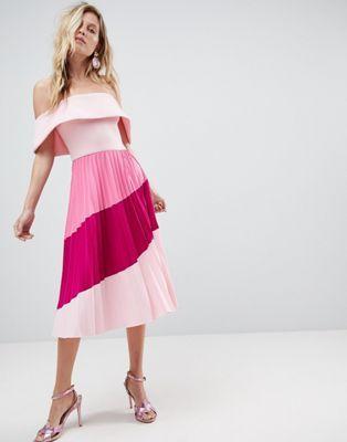 3d10dcb06966 ASOS Scuba Bardot Color Block Pleated Midi Dress