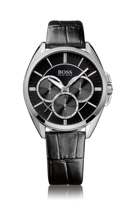 c0a559d42f5 HUGO BOSS Wrist Watch  HB6037  With A Leather Strap  HB6037-1502359-L-SS-ROU-BLK-S-LEBLK - 58034681