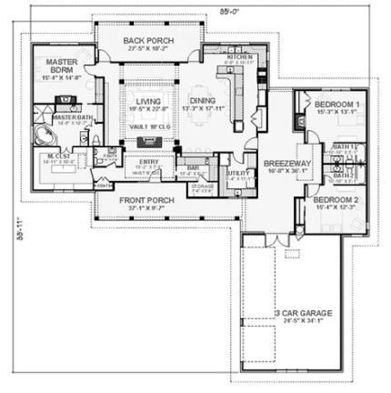 New Rustic Ranch House Plans Layout Ideas Farmhouse Floor Plans House Plans And More House Plans