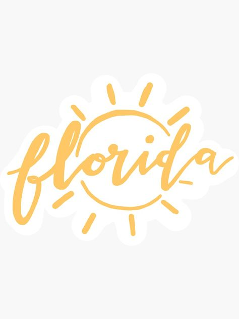 "'Florida Sunshine State Pride Yellow Lettering Design' Sticker by Lexie Pitzen - ""Florida Sunshine State Pride Yellow Lettering Design"" Sticker by glowingly Tallahassee Florida, Tampa Florida, Florida Gators, Florida Sunshine, Sunshine State, Brush Lettering, Lettering Design, Vsco, Miami"