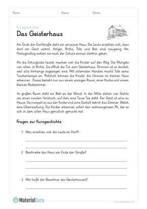 Ein Kostenloses Arbeitsblatt Zum Thema Kurzgeschichten Auf Dem Die Schuler Ein Beispiel Mit Einer Kurzgeschichten Lesen Lernen 1 Klasse Deutsch Lernen Ubungen