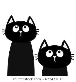 Two Black Cat Set Looking Up Friends Forever Cute Cartoon