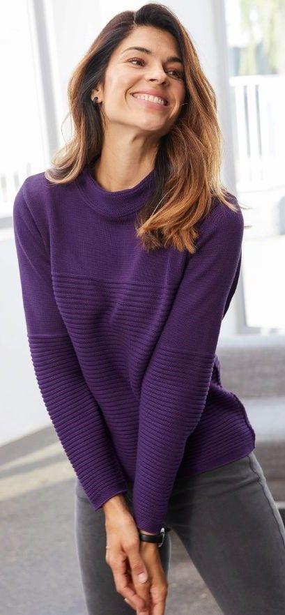 Kaminkragen Pullover Querrippe In Aubergine Pullover Warme Outfits Walbusch