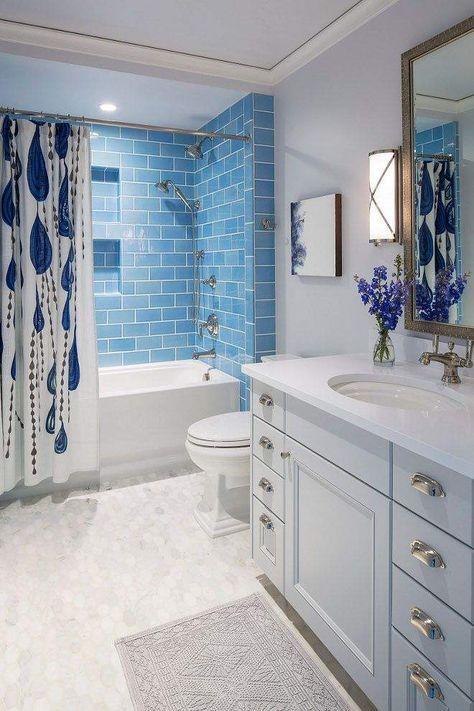 Vintage Blue Tile Bathroom Ideas Bluebathroomideas Blue Paint Ideas For Bathroom Blue Bathroo Blue Bathroom Tile Bathroom Remodel Cost Small Bathroom Remodel