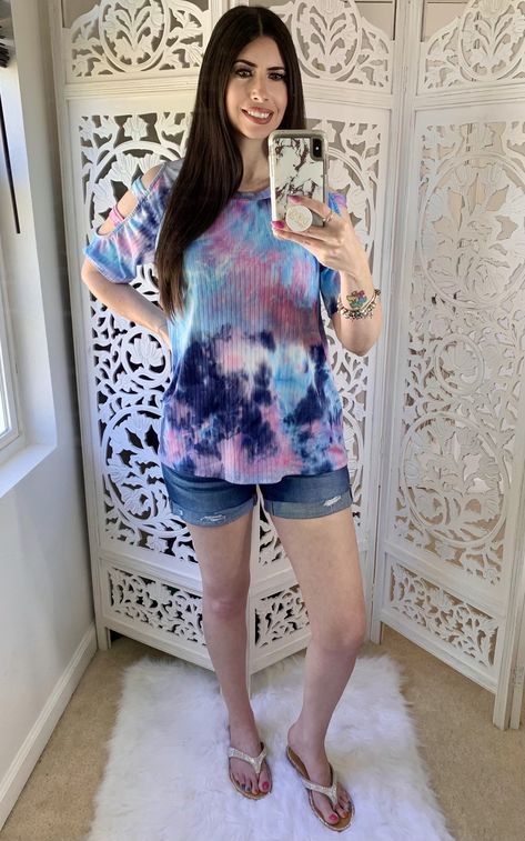 Pink and blue tie dye top with ladder cut sleeves