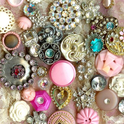 vintage rhinestone button collection - oh would I love to have a collection of vintage buttons