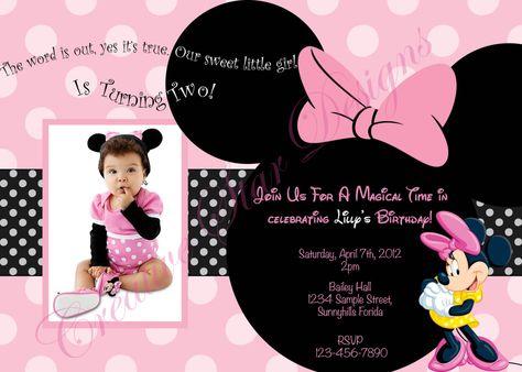Minnie Birthday Invitations Digital Print File Pink Custom Disney Mickey Mouse Clubhouse. $8.00, via Etsy.