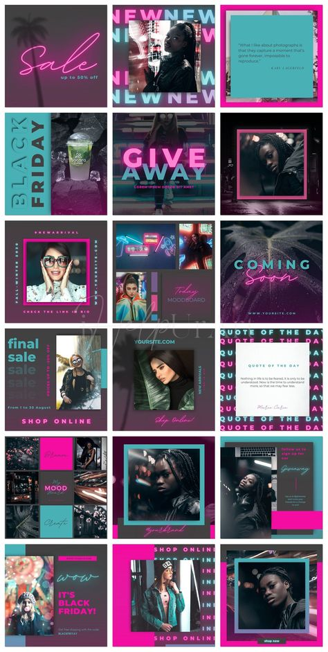 Instagram Posts Templates for Canva - Editable Instagram Posts - Neon Instagram Layout - Fashion Insta Posts - E-Commerce Canva Template
