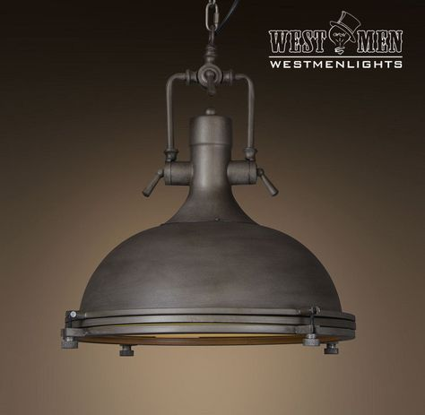 Large Dome 1 Light Brown Pendant Light Hanging Lights Industrial Light Fixtures Art Deco Chandelier