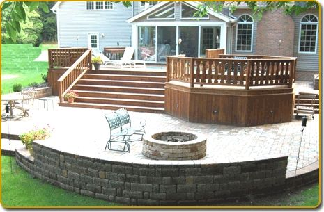 Wood Deck And Stone Patio