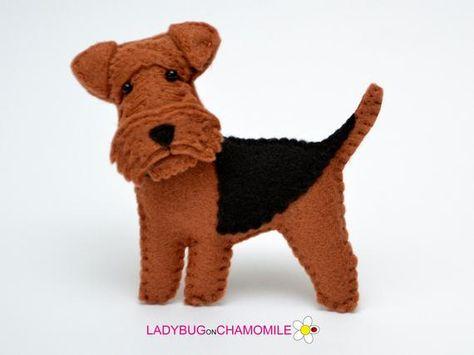 Felt Welsh Terrier Dog Stuffed