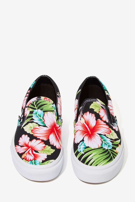 93c65139e6 I bought lace-ups like these from  target on sale for  13.50! Vans Classic  Slip-On Sneaker - Black Hawaiian Floral