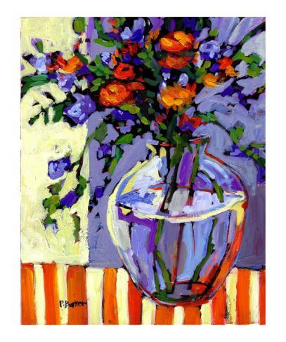 Flowers on a Striped Tablecloth