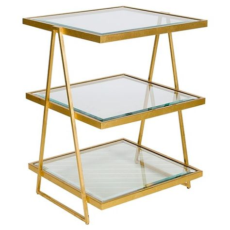 Worlds Away Jarmon Gold Leafed Square Side Table