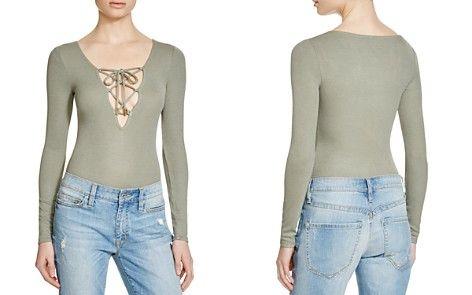 GUESS Rib Lola Lace-Up Bodysuit